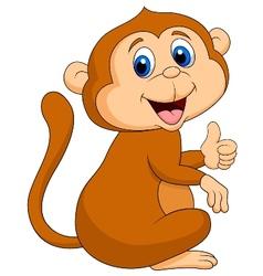 Cute monkey cartoon thumb up vector