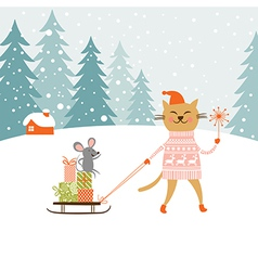 Cute kitty carries the sledge with gifts and littl vector