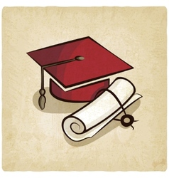 Graduation cap and diploma old background vector