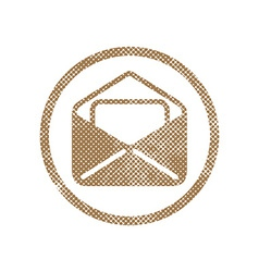 Envelope mail icon with pixel print halftone dots vector
