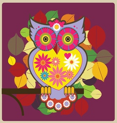 Cartoon owl pink queen vector