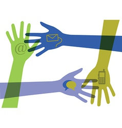 Set of hands with communication icons vector