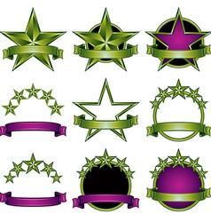 5 stars classic emblems set vector