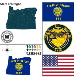 Map of oregon with seal vector