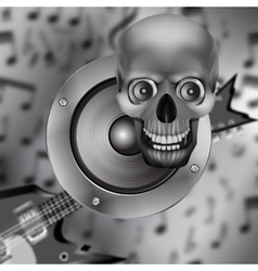Speaker skull and electric guitar vector