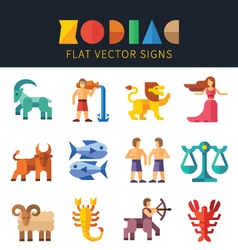 Flat zodiac signs astrology vector