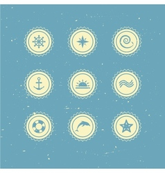 Set of retro marine icons vector