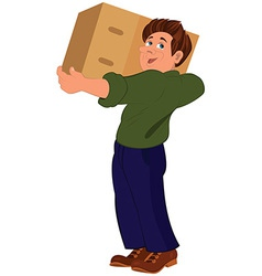 Cartoon man in green sweater holding big box vector