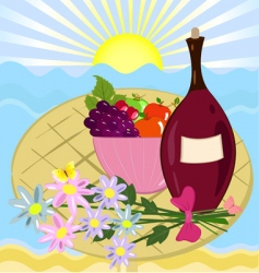 Fruit flowers and a bottle of wine vector