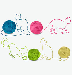 Abstract wool cats vector