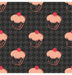 Tile cupcake and black houndstooth pattern vector
