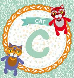 Abc animals c is cat childrens english alphabet vector