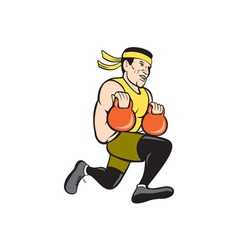 Crossfit runner with kettlebell cartoon vector