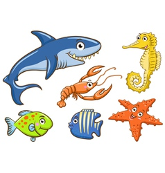 Aquatic animals set vector