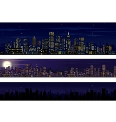 City skyline collection of night skyline vector