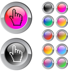 Pixel hand multicolor round button vector