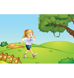 A girl jogging at the hill vector