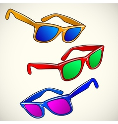 Retro sun glasses summer plastic lens color vector