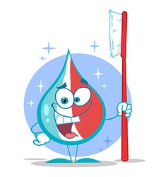 Toothpaste cartoon character holding a toothbrush vector