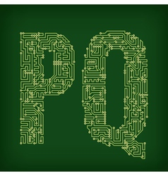 Pcb letter and digits vector
