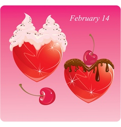 Hearts with chocolate and cream valentines card vector