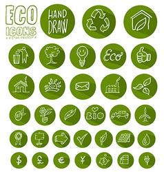 Eco icon button set vector