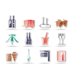 Wine and drink icons vector