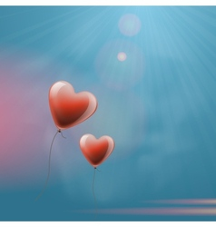 Heart balloons in the sky vector