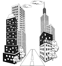 Cartoon city downtown vector