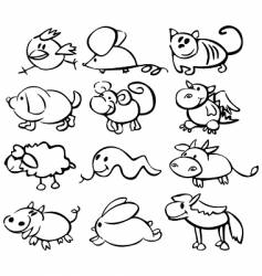 Horoscope animals vector