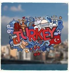 Turkey hand lettering and doodles elements vector