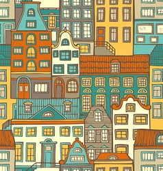 Seamless pattern of buildings vector