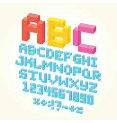 Pixel brick font isolated set vector