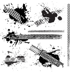 Dirty tire tracks set collection vector