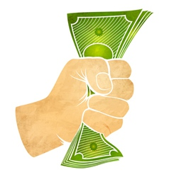 Hand and dollars vector