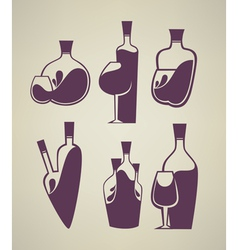 Wine collection glass and bottle vector