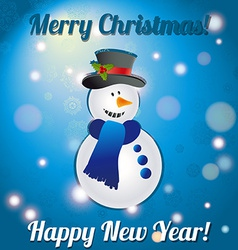 Christmas snowman a greeting card congratulations vector