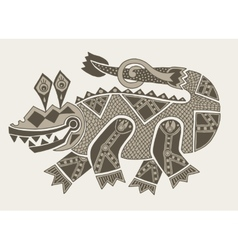 Authentic original decorative drawing of crocodile vector