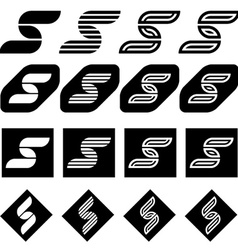 Ornate letter s black symbols vector