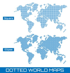 Dotted world maps vector