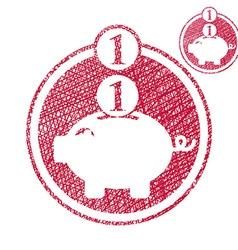 Piggy bank coins cash money savings theme simple vector