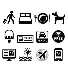 Travel and tourism booking holidays icons set vector
