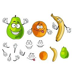 Banana pear and orange smiling fruits vector