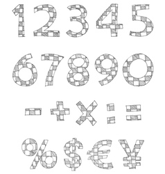 Hand written checkered numbers vector