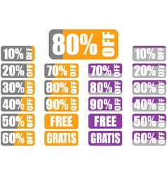 Set of percentage discount labels with indicator vector