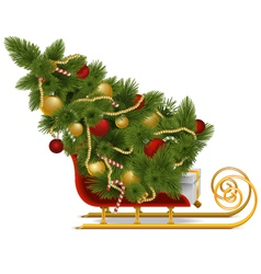 Sled with christmas tree vector