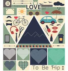 Hipster love art set vector