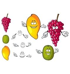 Cartoon mango grape and kiwi fruits vector