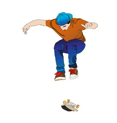 A young man while training with his skateboard tab vector