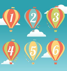 Six colorful hot air balloons vector